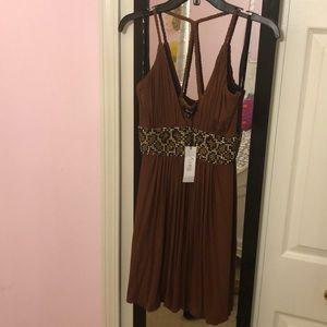 NWT Sky leopard rhinestone dress
